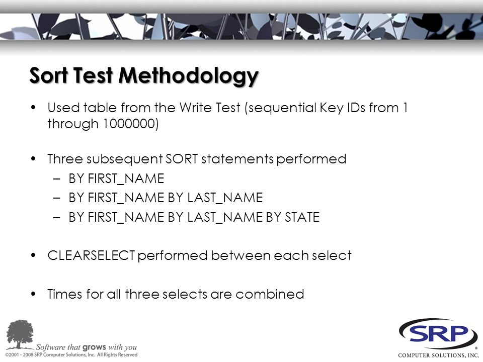 Sort Test Methodology Used table from the Write Test (sequential Key IDs from 1 through 1000000) Three subsequent SORT statements performed –BY FIRST_NAME –BY FIRST_NAME BY LAST_NAME –BY FIRST_NAME BY LAST_NAME BY STATE CLEARSELECT performed between each select Times for all three selects are combined
