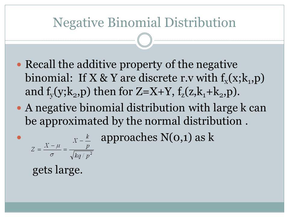 Negative Binomial Distribution Recall the additive property of the negative binomial: If X & Y are discrete r.v with f x (x;k 1,p) and f y (y;k 2,p) then for Z=X+Y, f z (z,k 1 +k 2,p).