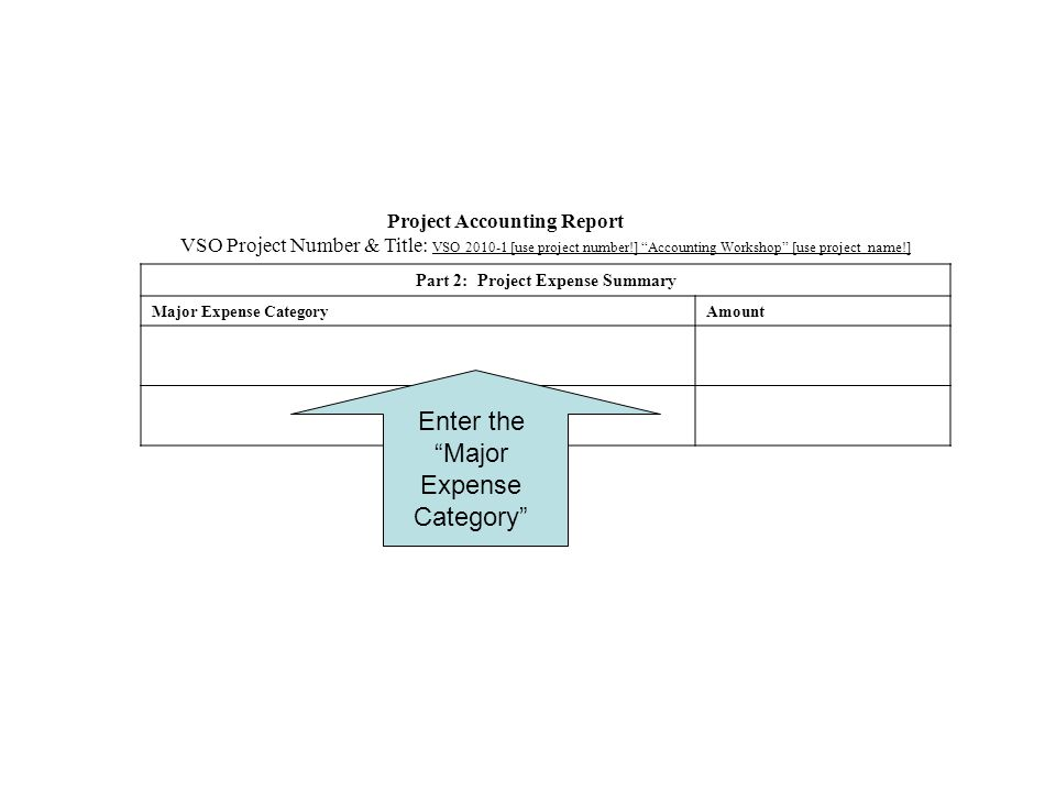 Project Accounting Report VSO Project Number & Title: VSO [use project number!] Accounting Workshop [use project name!] Part 2: Project Expense Summary Major Expense CategoryAmount Enter the Major Expense Category