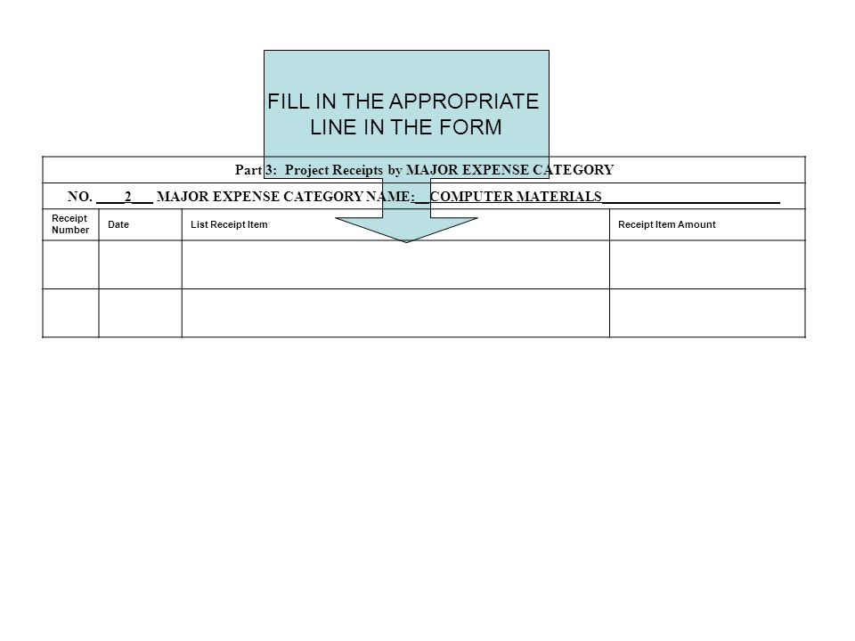 FILL IN THE APPROPRIATE LINE IN THE FORM Part 3: Project Receipts by MAJOR EXPENSE CATEGORY NO.