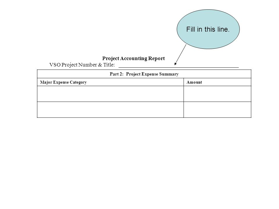 Project Accounting Report VSO Project Number & Title: ____________________________________________ Part 2: Project Expense Summary Major Expense CategoryAmount Fill in this line.