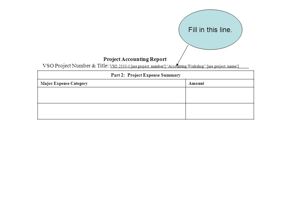 Project Accounting Report VSO Project Number & Title: VSO [use project number!] Accounting Workshop [use project name!]_____ Part 2: Project Expense Summary Major Expense CategoryAmount Fill in this line.