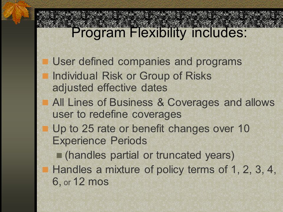 Program Flexibility includes: User defined companies and programs Individual Risk or Group of Risks adjusted effective dates All Lines of Business & C