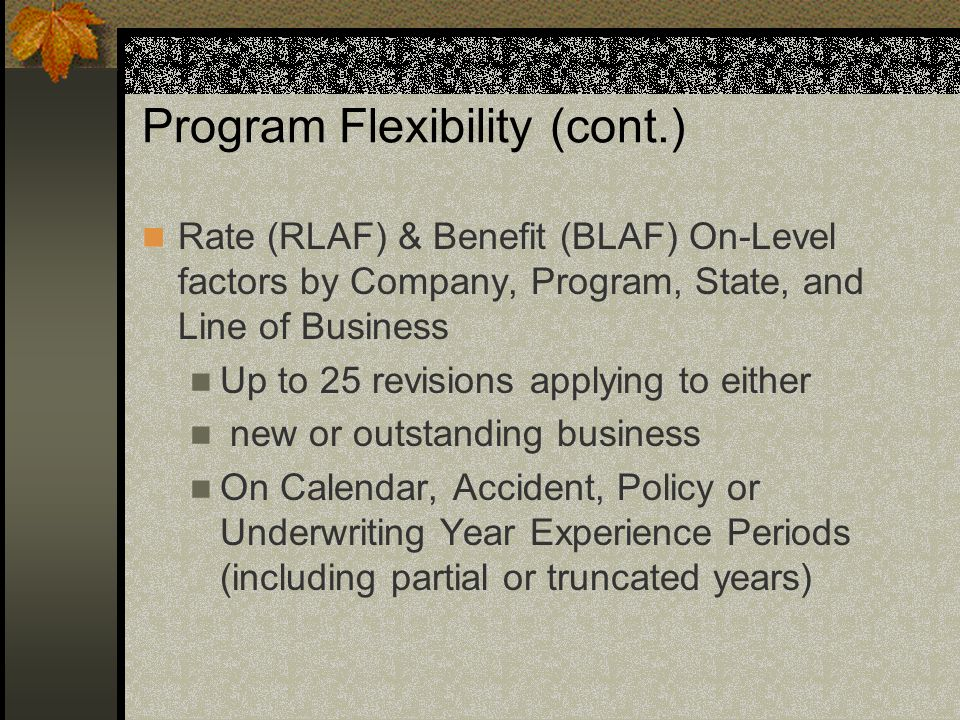 Program Flexibility (cont.) Rate (RLAF) & Benefit (BLAF) On-Level factors by Company, Program, State, and Line of Business Up to 25 revisions applying