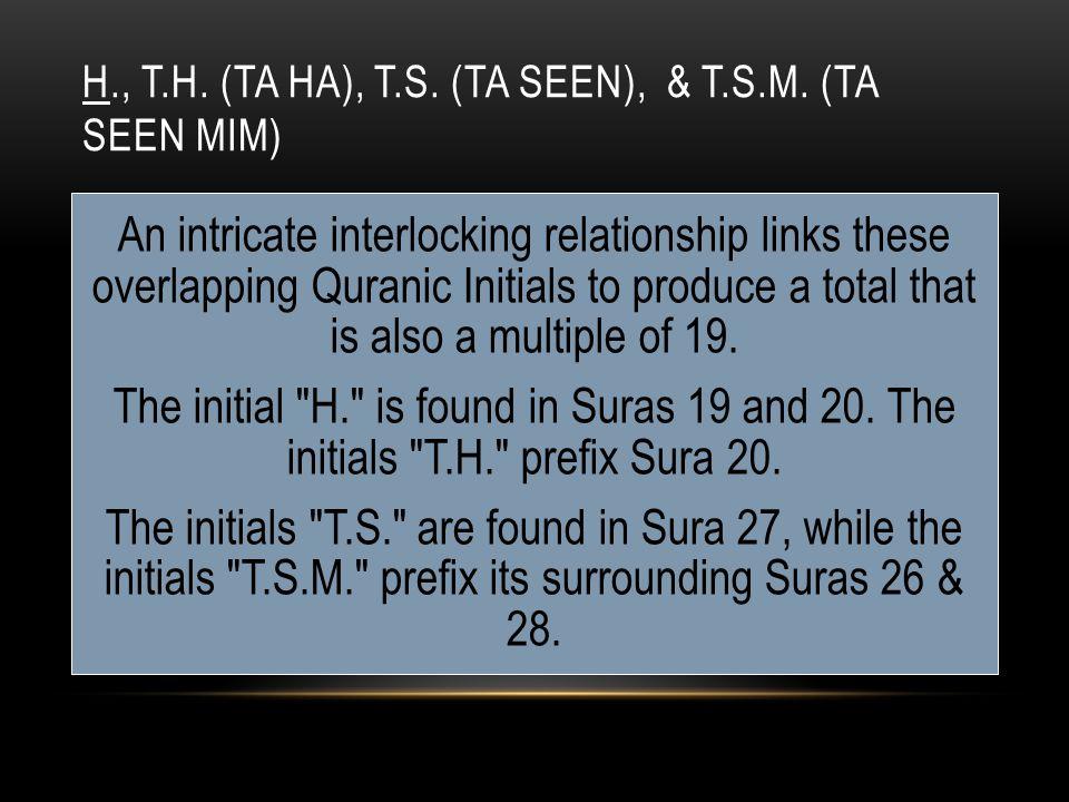 H., T.H. (TA HA), T.S. (TA SEEN), & T.S.M.