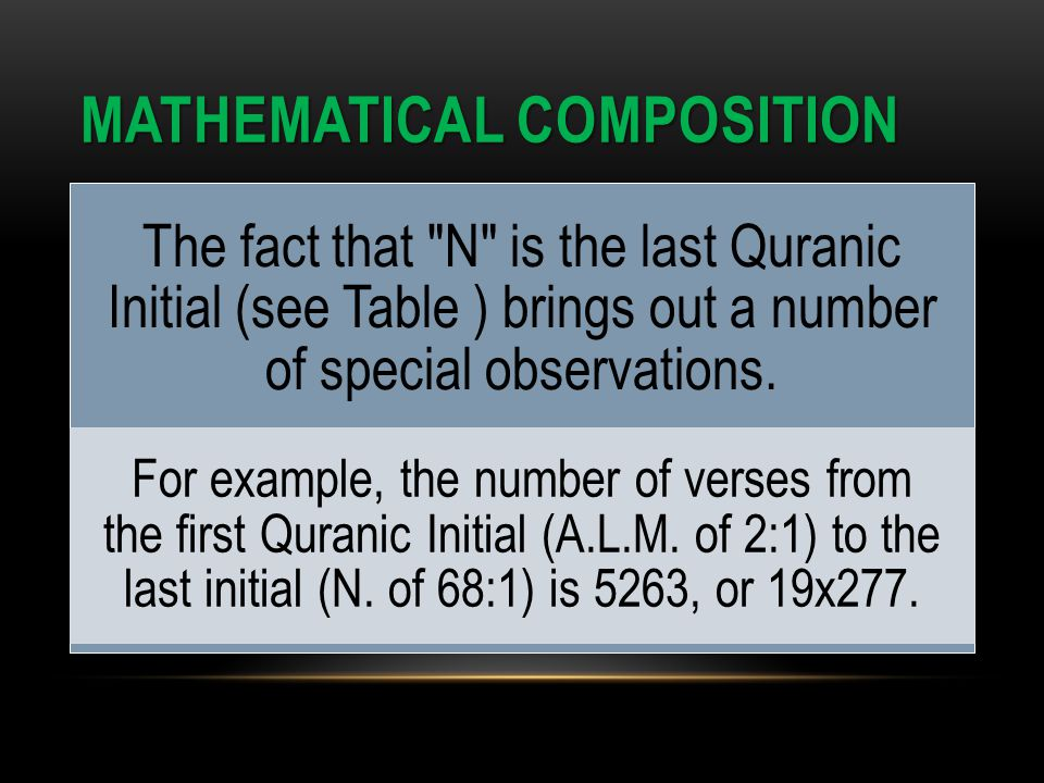 MATHEMATICAL COMPOSITION The fact that N is the last Quranic Initial (see Table ) brings out a number of special observations.