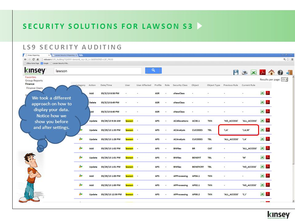 SECURITY SOLUTIONS FOR LAWSON S3 LS9 SECURITY AUDITING We took a different approach on how to display your data.