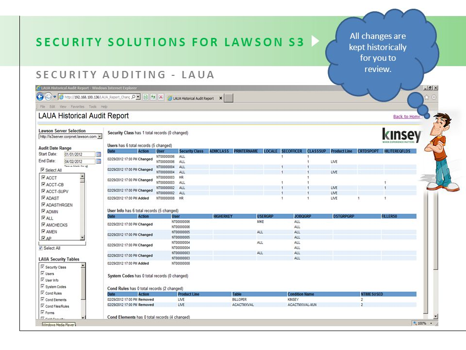 SECURITY SOLUTIONS FOR LAWSON S3 SECURITY AUDITING - LAUA All changes are kept historically for you to review.