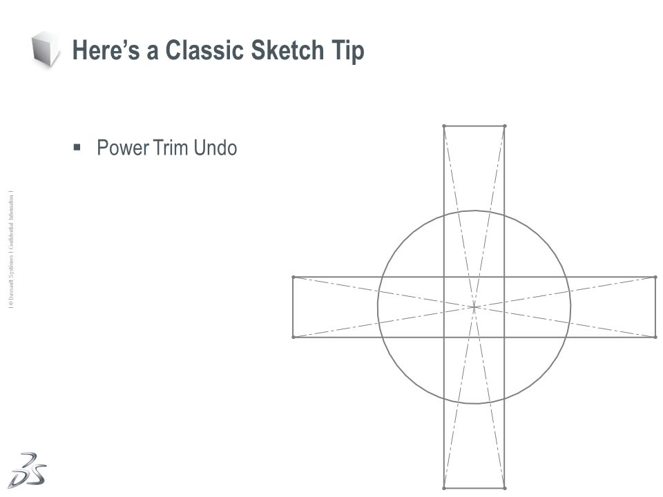 14 Ι © Dassault Systèmes Ι Confidential Information Ι Power Trim Undo Heres a Classic Sketch Tip