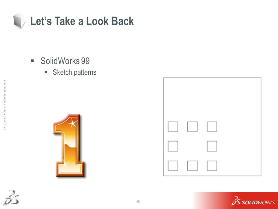 40 Ι © Dassault Systèmes Ι Confidential Information Ι SolidWorks 99 Sketch patterns Lets Take a Look Back