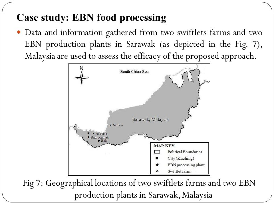 Data and information gathered from two swiftlets farms and two EBN production plants in Sarawak (as depicted in the Fig. 7), Malaysia are used to asse
