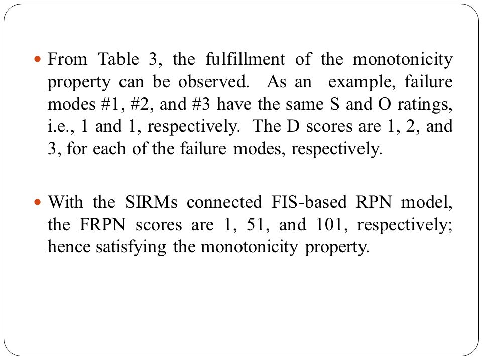 From Table 3, the fulfillment of the monotonicity property can be observed. As an example, failure modes #1, #2, and #3 have the same S and O ratings,