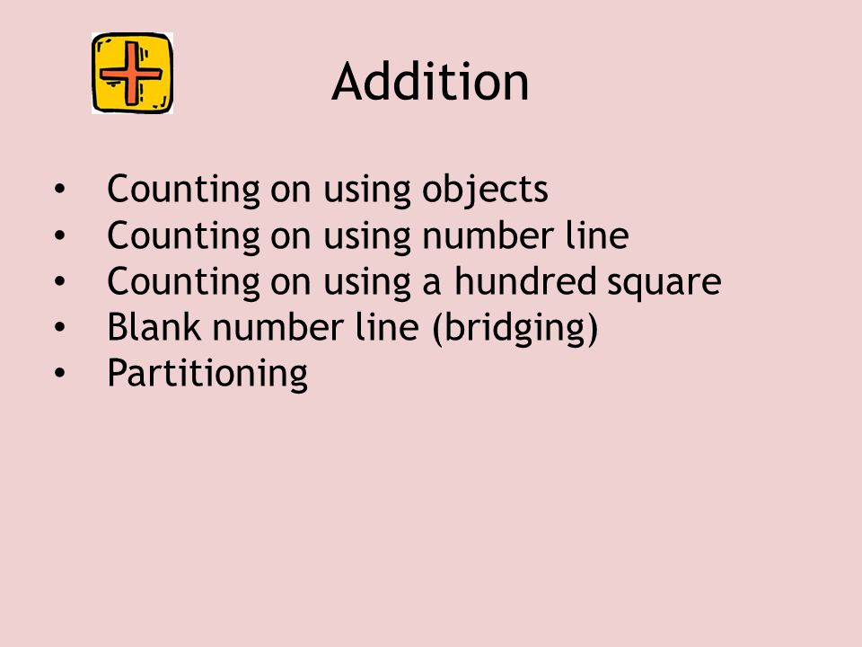 Counting back using objects Counting back using a number line Counting back using a hundred square Blank number line Partitioning Subtraction