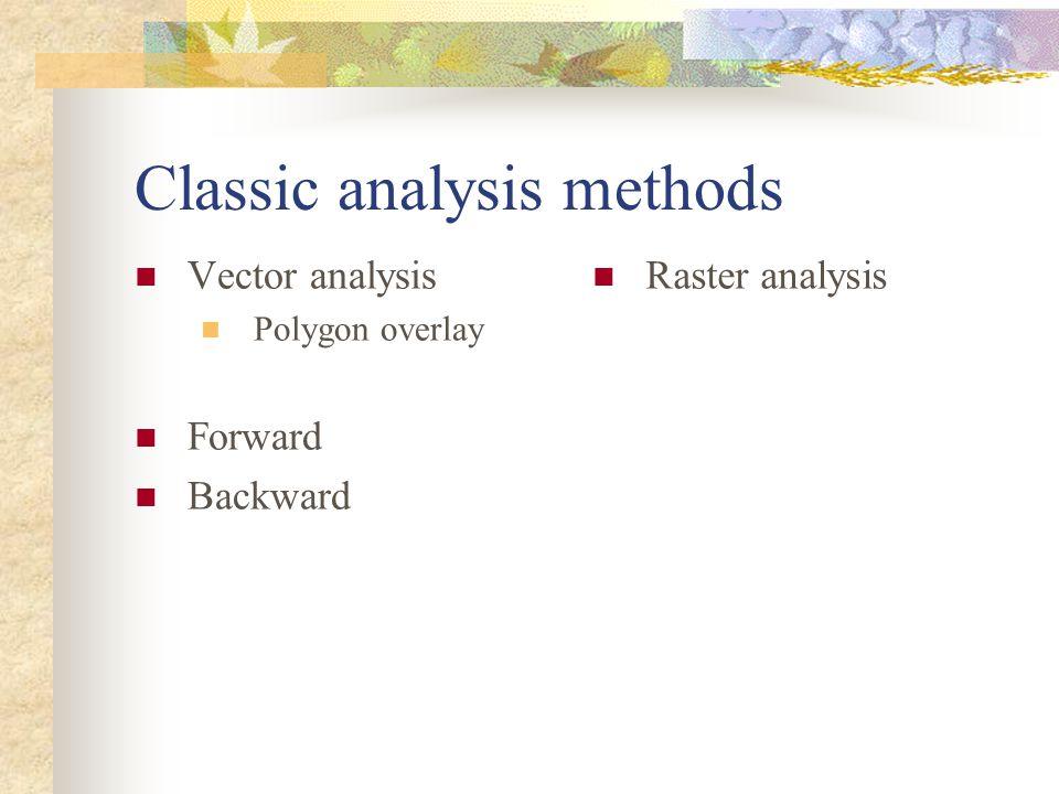 Classic analysis methods Vector analysis Polygon overlay Forward Backward Raster analysis