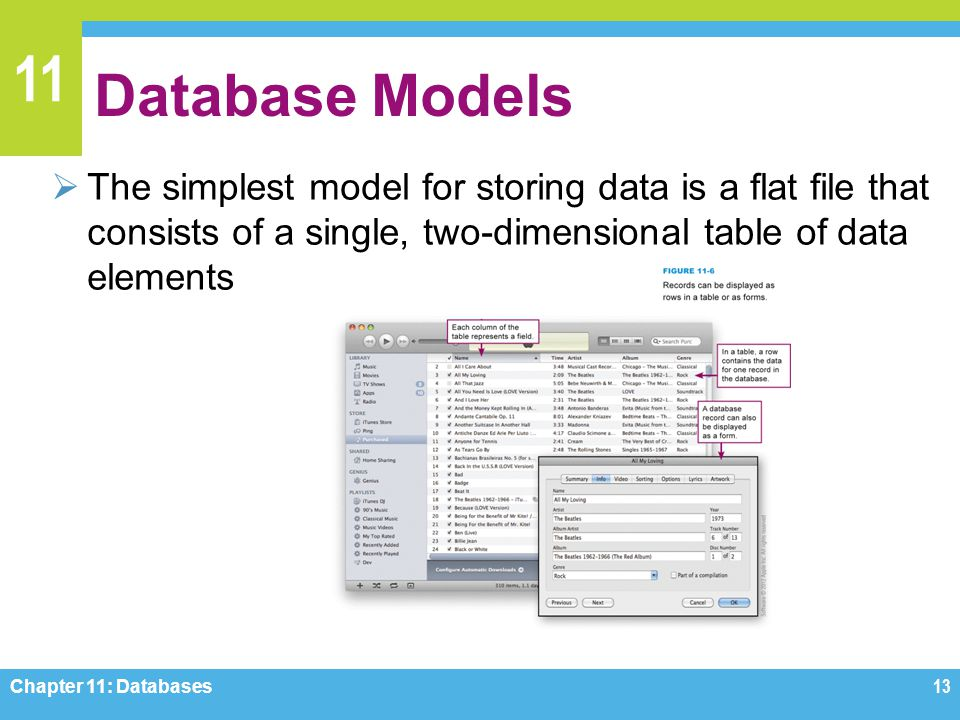 11 Database Models The simplest model for storing data is a flat file that consists of a single, two-dimensional table of data elements Chapter 11: Da