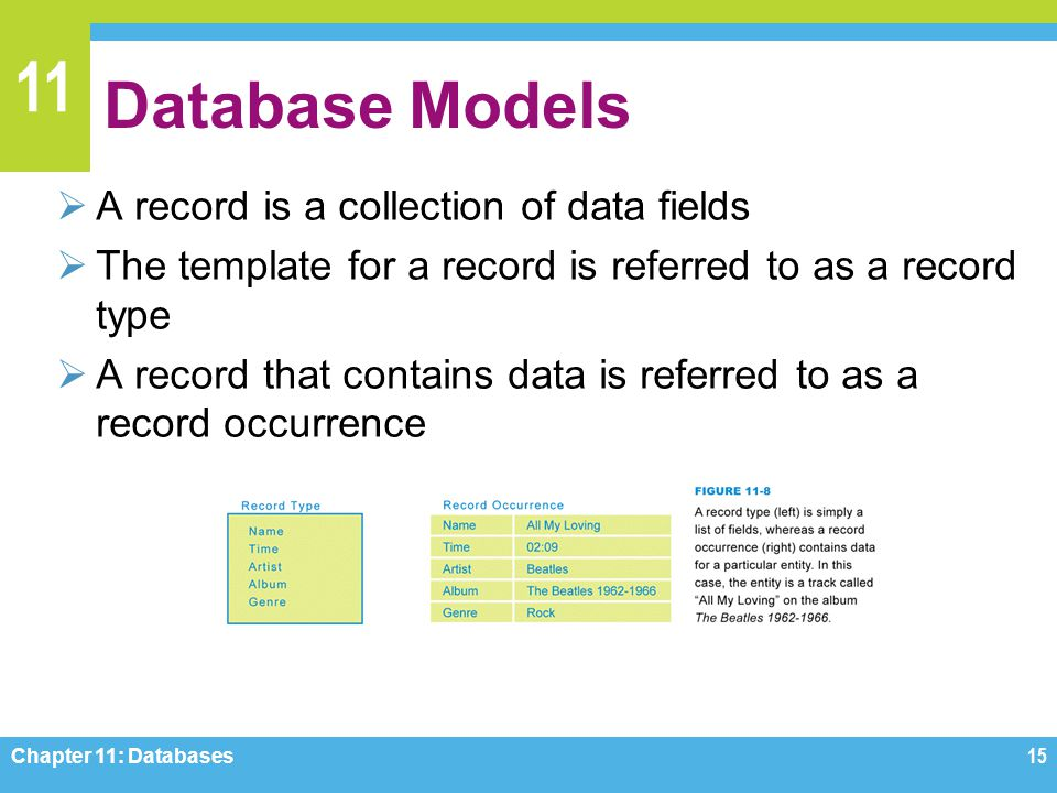 11 Database Models A record is a collection of data fields The template for a record is referred to as a record type A record that contains data is re