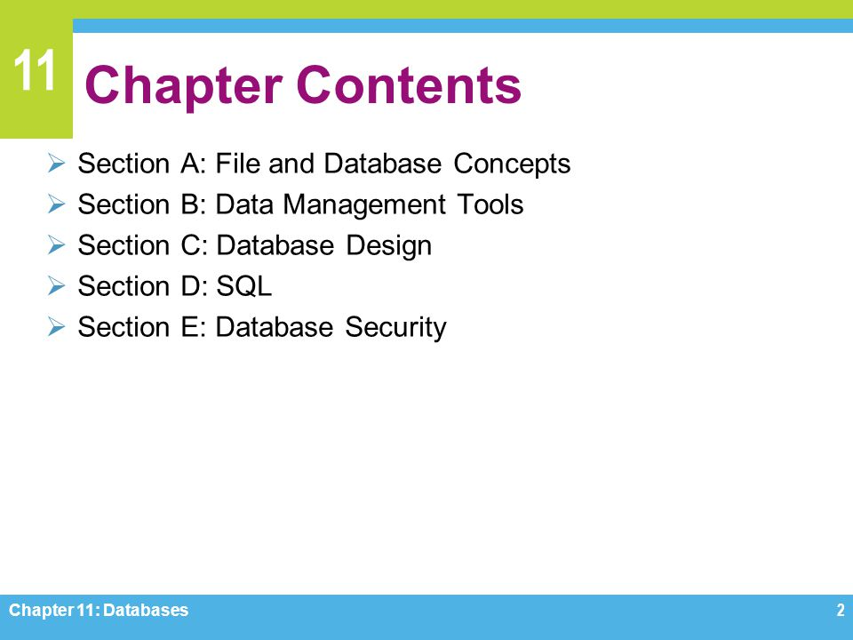 11 Section E: Database Security Database Vulnerabilities Database Security Measures Database Security Regulations What Individuals Can Do Chapter 11: Databases63