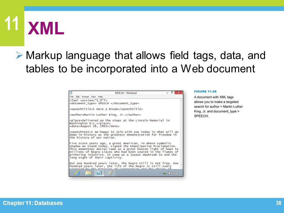 11 XML Markup language that allows field tags, data, and tables to be incorporated into a Web document Chapter 11: Databases38