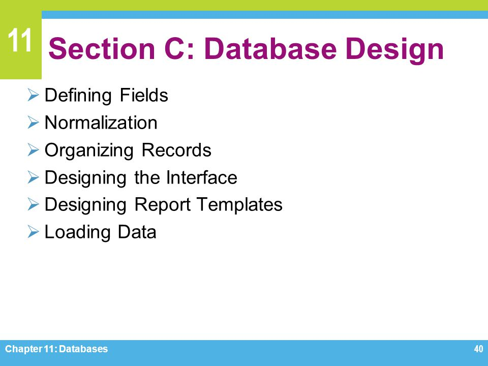 11 Section C: Database Design Defining Fields Normalization Organizing Records Designing the Interface Designing Report Templates Loading Data Chapter