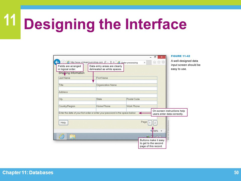 11 Designing the Interface Chapter 11: Databases50