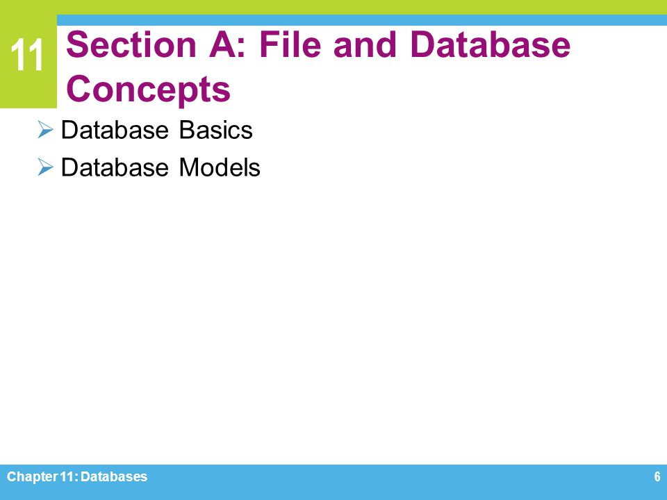 11 Section A: File and Database Concepts Database Basics Database Models Chapter 11: Databases6