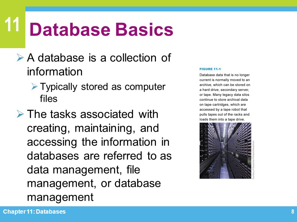 11 Database Basics A database is a collection of information Typically stored as computer files The tasks associated with creating, maintaining, and a