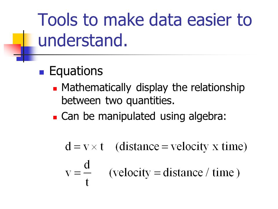 Tools to make data easier to understand. Equations Mathematically display the relationship between two quantities. Can be manipulated using algebra: