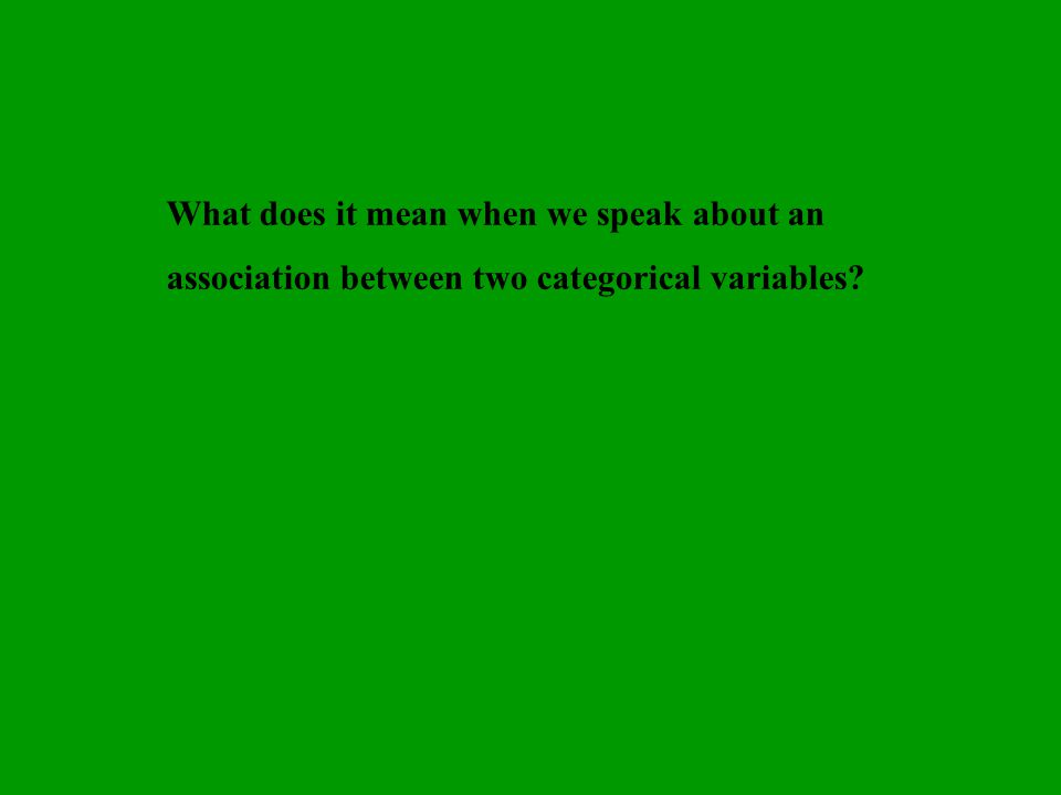 What does it mean when we speak about an association between two categorical variables?