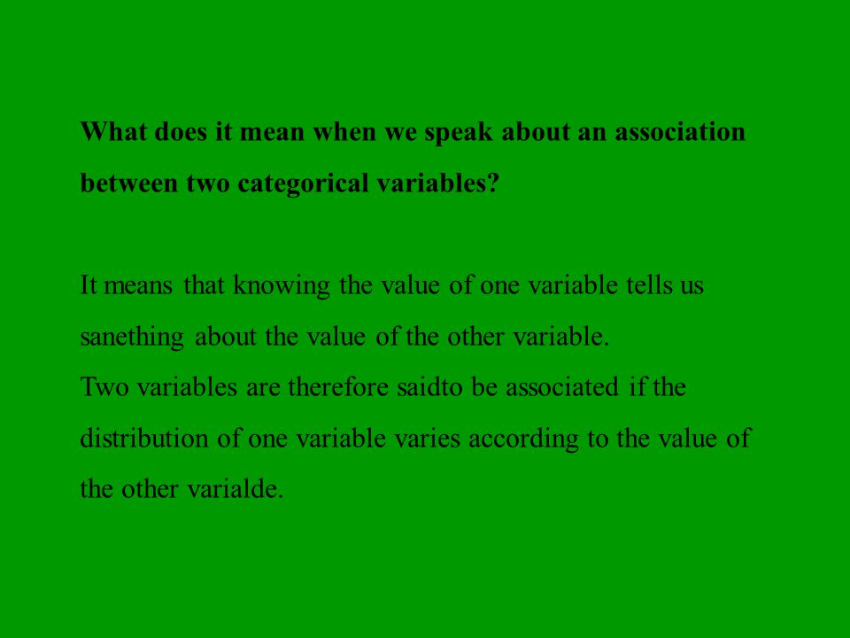 It means that knowing the value of one variable tells us sanething about the value of the other variable. Two variables are therefore saidto be associ
