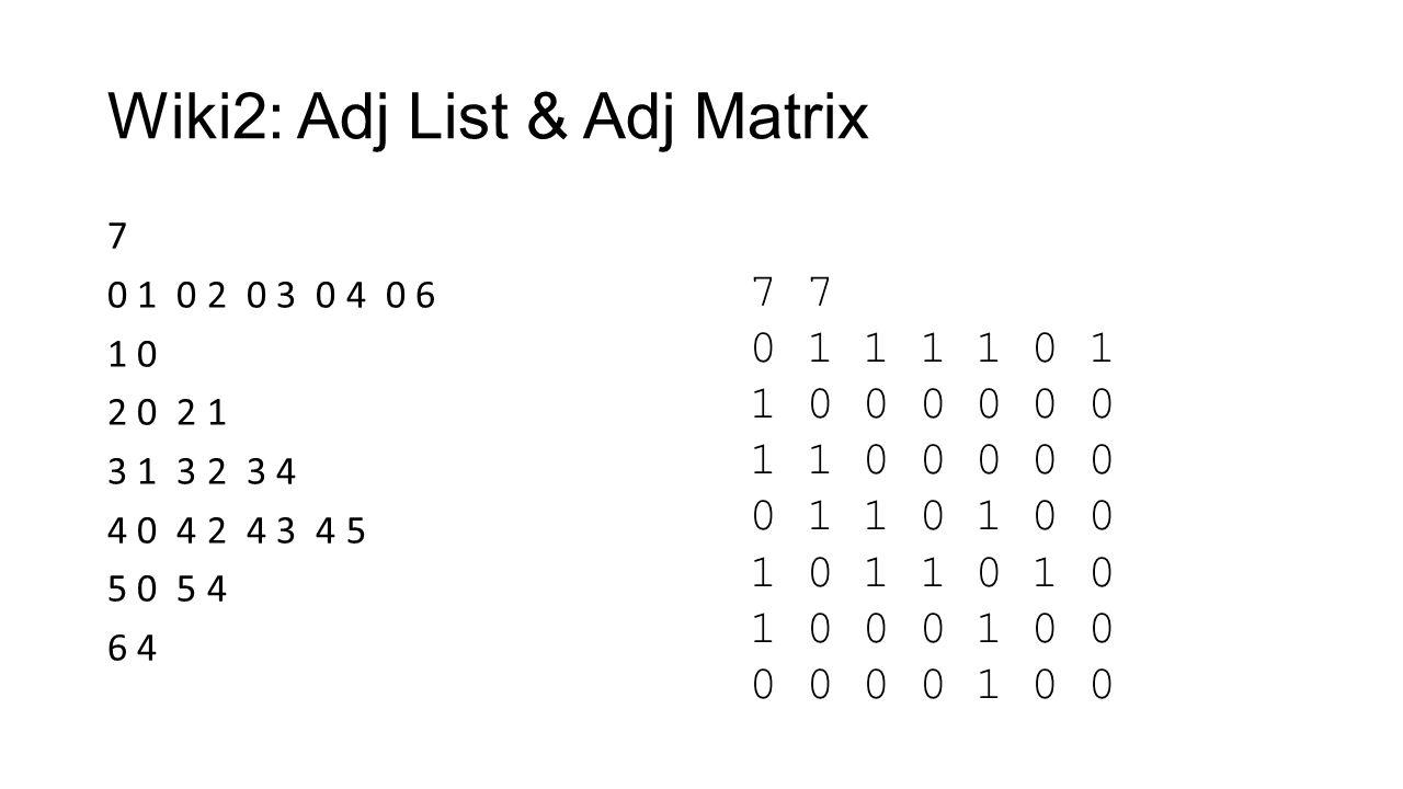 Wiki2: Adj List & Adj Matrix 7 0 1 0 2 0 3 0 4 0 6 1 0 2 0 2 1 3 1 3 2 3 4 4 0 4 2 4 3 4 5 5 0 5 4 6 4 7 0 1 1 1 1 0 1 1 0 0 0 0 0 0 1 1 0 0 0 0 0 0 1