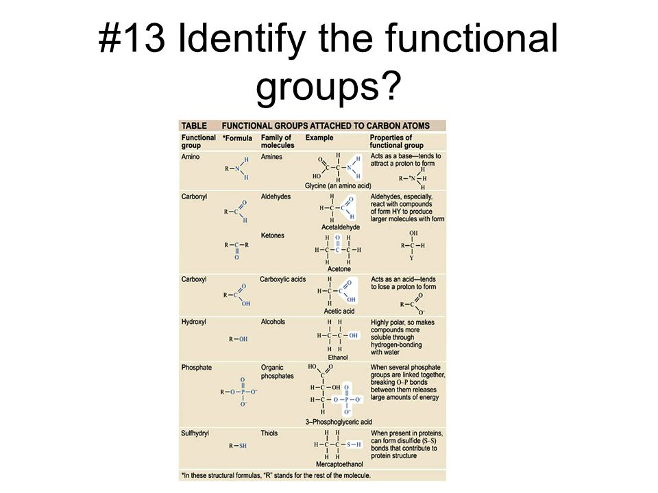 #13 Identify the functional groups?