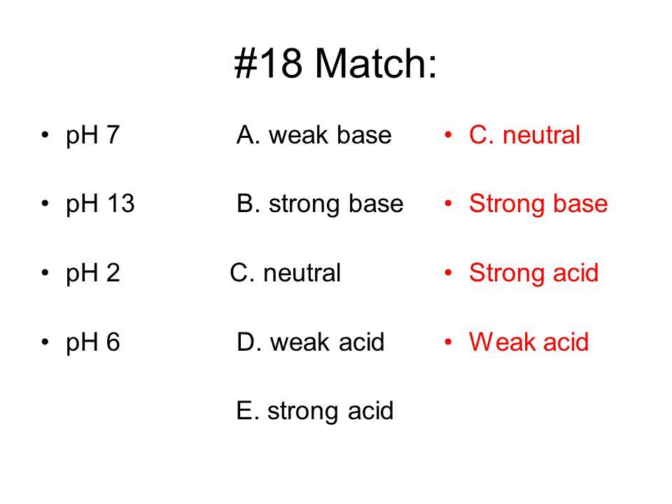 #18 Match: pH 7 A. weak base pH 13 B. strong base pH 2 C. neutral pH 6 D. weak acid E. strong acid C. neutral Strong base Strong acid Weak acid