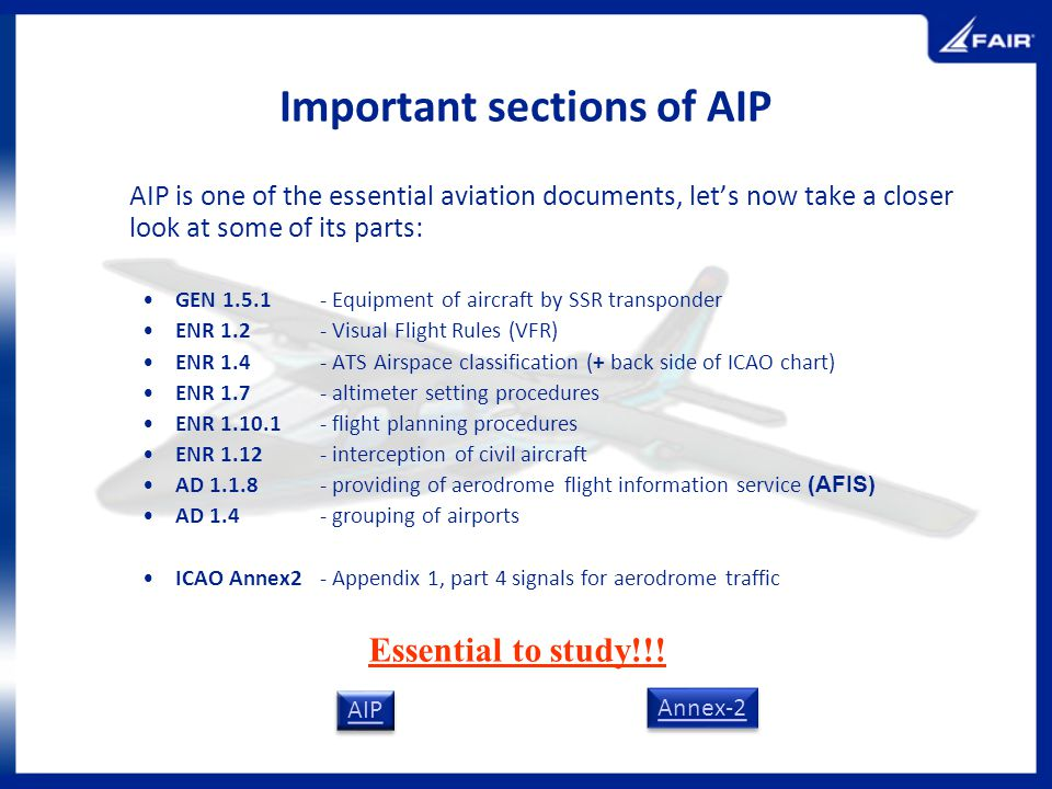 Important sections of AIP AIP is one of the essential aviation documents, lets now take a closer look at some of its parts: GEN 1.5.1 - Equipment of a