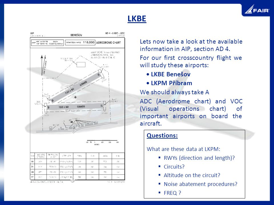 LKBE Lets now take a look at the available information in AIP, section AD 4. For our first crosscountry flight we will study these airports: LKBE Bene