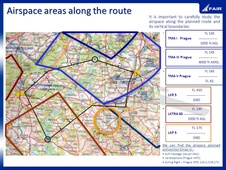 Airspace areas along the route It is important to carefully study the airspace along the planned route and its vertical boundaries: FL 145 TMA III Pra