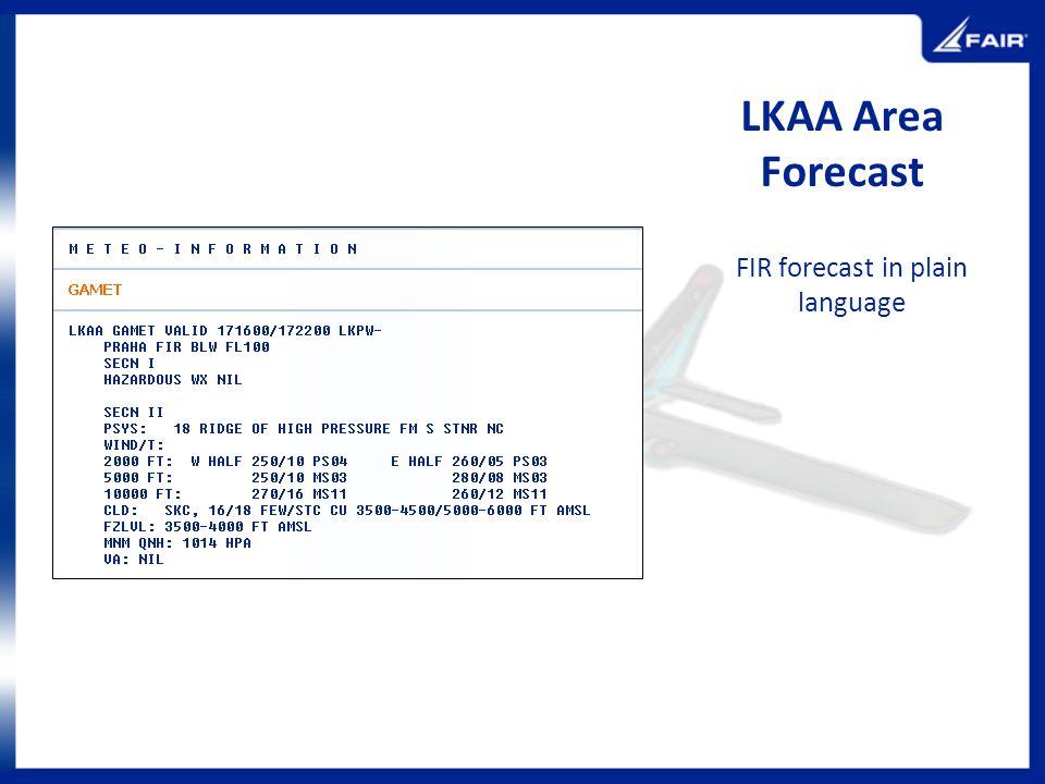 LKAA Area Forecast FIR forecast in plain language