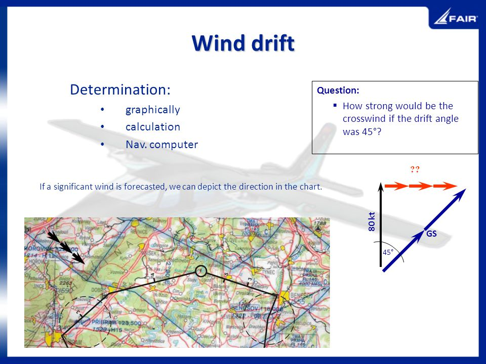 Wind drift Determination: graphically calculation Nav. computer If a significant wind is forecasted, we can depict the direction in the chart. Questio