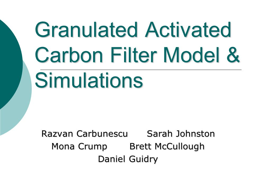 Granulated Activated Carbon Filter Model & Simulations Razvan Carbunescu Sarah Johnston Mona Crump Brett McCullough Daniel Guidry
