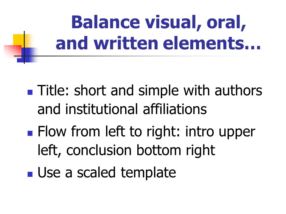 Title: short and simple with authors and institutional affiliations Flow from left to right: intro upper left, conclusion bottom right Use a scaled template Balance visual, oral, and written elements…
