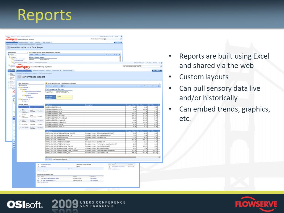 Reports Reports are built using Excel and shared via the web Custom layouts Can pull sensory data live and/or historically Can embed trends, graphics,