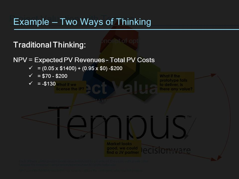 Project Valuation Project Valuation with Tempus Tempus introduces the concept of optionality and entrepreneurial management.