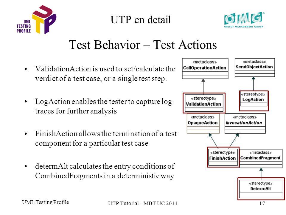 UML Testing Profile 17 UTP en detail Test Behavior – Test Actions UTP Tutorial – MBT UC 2011 ValidationAction is used to set/calculate the verdict of a test case, or a single test step.