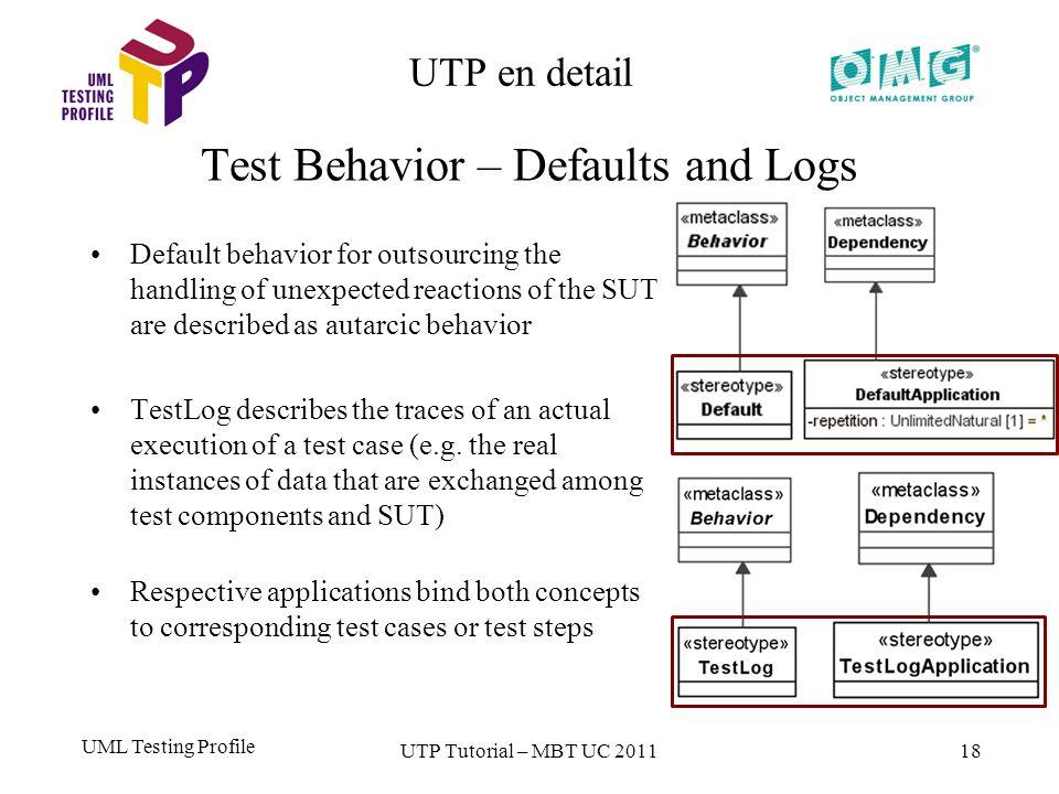 UML Testing Profile 18 UTP en detail Test Behavior – Defaults and Logs UTP Tutorial – MBT UC 2011 Default behavior for outsourcing the handling of une