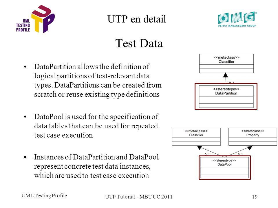 UML Testing Profile 19 UTP en detail Test Data UTP Tutorial – MBT UC 2011 DataPartition allows the definition of logical partitions of test-relevant data types.