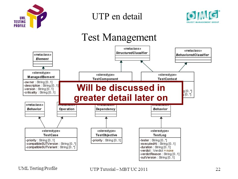 UML Testing Profile 22 UTP en detail Test Management UTP Tutorial – MBT UC 2011 Will be discussed in greater detail later on