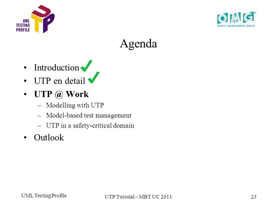 UML Testing Profile 23 Agenda Introduction UTP en detail UTP @ Work –M–Modelling with UTP –M–Model-based test management –U–UTP in a safety-critical domain Outlook UTP Tutorial – MBT UC 2011