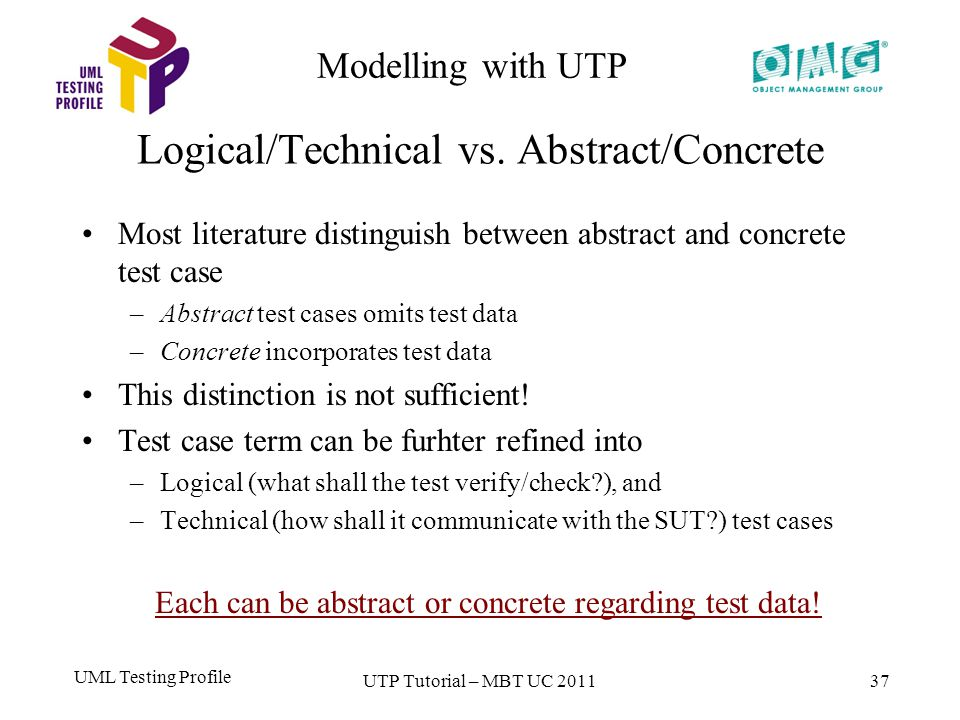 UML Testing Profile 37 Modelling with UTP Logical/Technical vs.
