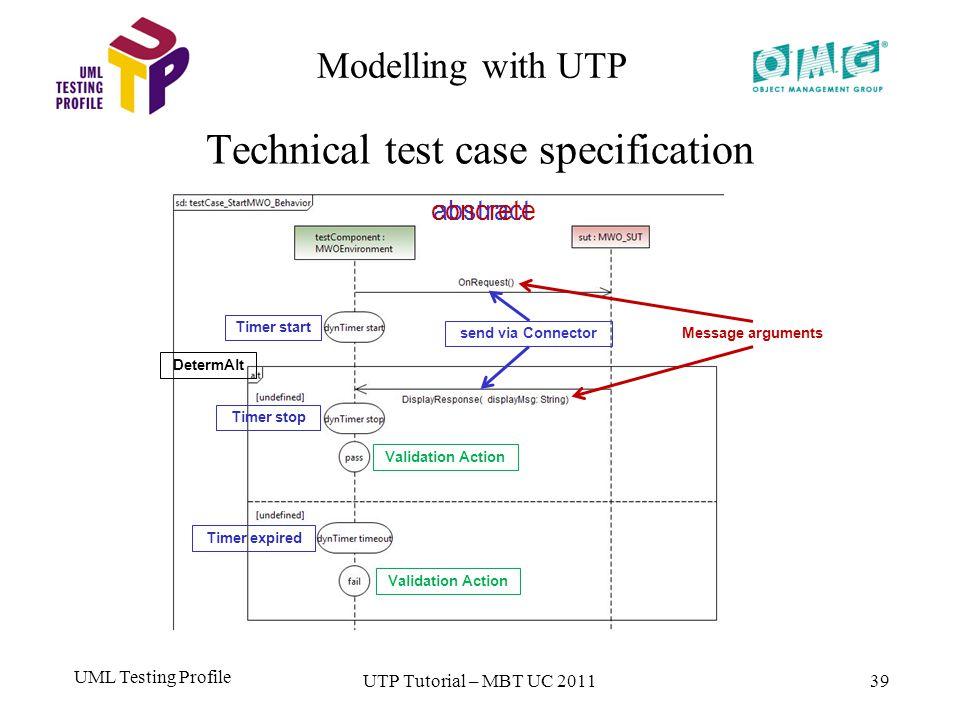 UML Testing Profile 39 Modelling with UTP Technical test case specification UTP Tutorial – MBT UC 2011 Validation Action Timer stop DetermAlt Validation Action Timer start send via Connector Message arguments Timer expired abstractconcrete