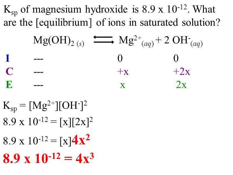 K sp of magnesium hydroxide is 8.9 x 10 -12.