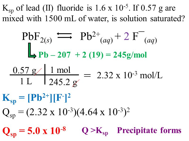 PbF 2(s) Pb 2+ (aq) + 2 F¯ (aq) Pb – (19) = 245g/mol K sp of lead (II) fluoride is 1.6 x